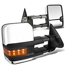 Avalanche / Tahoe Pair of Chrome Telescoping Manual Extendable + Amber Signal Side Towing Mirrors