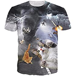 Uideazone Men's Cat Fly Tornado Funny Tee T-shirt