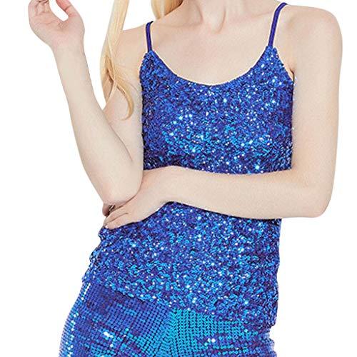 Gooldu Women Sequin Top Slim Stretchy Shimmer Sparkle Sling Camisole Tank Vest Top Party Tops Blouses ()