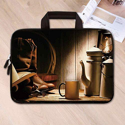 Western Neoprene Laptop Bag,Rodeo Cowboy Authentic Working Gear Genuine Hat Rancher Boots Pot of Coffee Decorative for Business Casual or School,17.3''L x 13''W x 0.8''H