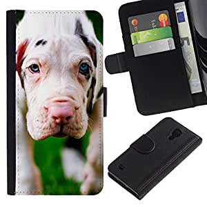 All Phone Most Case / Oferta Especial Cáscara Funda de cuero Monedero Cubierta de proteccion Caso / Wallet Case for Samsung Galaxy S4 IV I9500 // White Great Dane Puppy Dog White