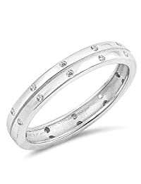 White CZ Eternity Simple Elegant Thumb Ring .925 Sterling Silver Band Sizes 5-10