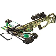 New PSE Fang 350 XT Mossy Country Crossbow | Pre-installed 4X32 MR Scope & Five Bolt Quiver | Includes Three 20? Carbon Bolts with 100gr Bullet Points Cocking Rope & Rail Lube by PSE