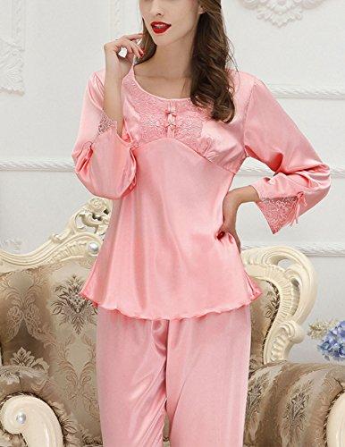 Aivtalk - Mujeres Set de 2 Piezas de Pijama de Seda Imitación Camiseta en Cuello Redondo y Pantalones Largos con Encaje Ropa de Dormir Talla L-XL, Rojo, Rosa, Champán, Rosa claro Rosa