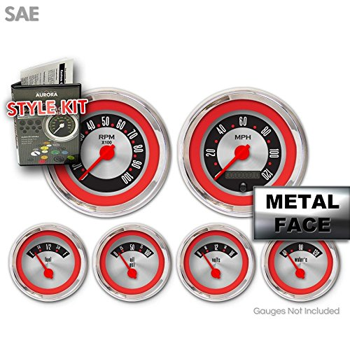 Red Ring Face, Red Modern Needles, Chrome Bezels Aurora Instruments 2378 American Retro Rodder Style Kit
