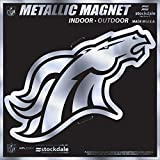 "Denver Broncos 6"" MAGNET Silver Metallic Style Vinyl Auto Home Football"