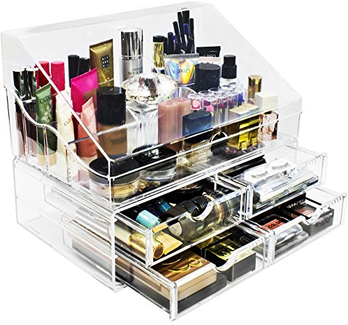 Sorbus Acrylic Cosmetics Makeup Organizer Storage Case Display with Slanted Open Lid-Cosmetic Storage for Makeup, Brushes, Perfumes, Skincare (Style 2 - Slanted Lid Sectional Top with 4 Drawers)