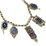 Sweet Romance Vintage Peacock Iris Glass Necklace
