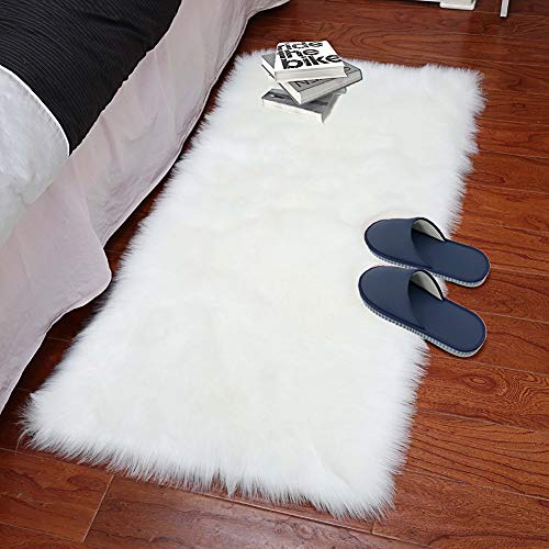 XingMart Sheepskin Area Rugs Luxury Fluffy Floor Carpet for Bedroom Super Soft Plush Faux Fur Rug Shaggy Bedside Rug Room Decor Rug for Baby Nursery Childrens, 2 x 3 Feet For Sale