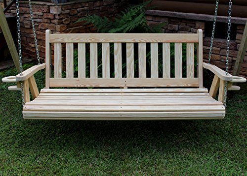 Amazon.com : MISSION Amish Heavy Duty 800 Lb 5ft. Porch Swing With  Cupholders   Cedar Stain   Made In USA : Garden U0026 Outdoor