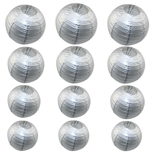 12 Packs Round Chinese Paper Lanterns Assorted Sizes 6Inch 8Inch 10Inch 12Inch Birthday/Wedding/Party Ceiling Hanging Decoration (Silver)