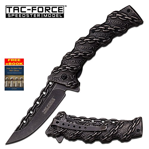 Stonewash Blade & Handle Tac-Force Spring Assist Assisted Knife Knives #859 + free eBook by OnlyUS - Butterfly Knife Tanto Blade