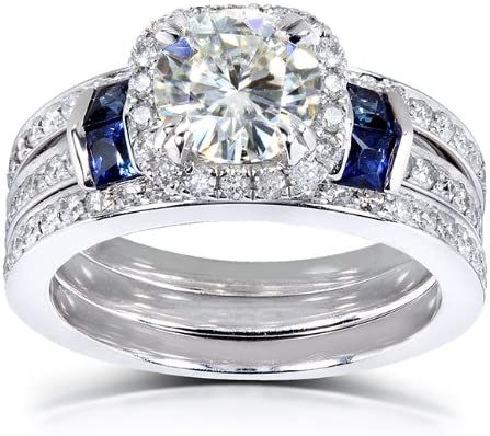 Kobelli Round-cut Moissanite Bridal Set & Sapphire 2 CTW 14k White Gold (3 Piece Set)