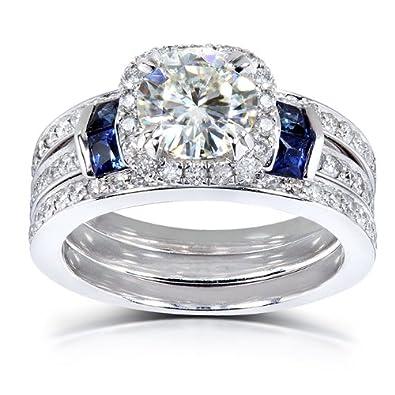 Amazoncom Roundcut Moissanite Bridal Set with Diamond Sapphire