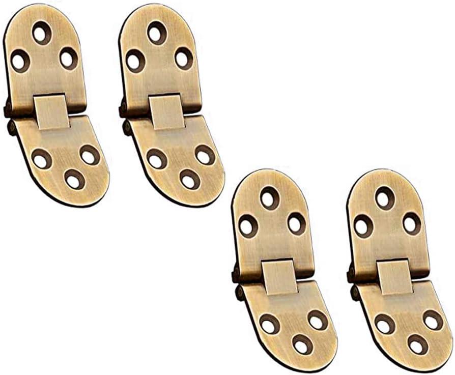 4 Piezas Bisagra de Metal de Aleación de Zinc,Bisagras para Armarios Muebles,Borde Redondo Flip de Bisagra,para Máquina de Coser,Mesa Plegable,Puertas de Gabinetes(Bronce Verde)