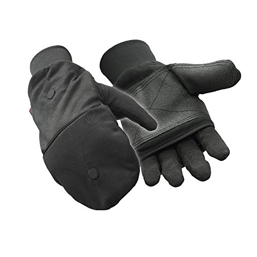 Refrigiwear Jersey Lined Convertible Mitt Glove w/ HotHands Hand Warmer Pocket, Black, Large
