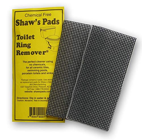 Algae Remover Cleaner Pad - Shaw's Pads Toilet Ring Remover - Environmentally Friendly Cleaner Pads for Use on Porcelain Toilets, Ceramic Tiles, Sinks and More (2 Pack)