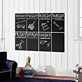 Atalanta® Durable Weekly Wall Planner Vinyl Chalkboard Sheet Wall Decal Blackboard Set of 8 with 1 White Color Liquid Chalk Marker Picture