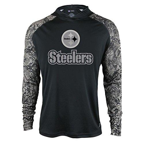 NFL Pittsburgh Steelers Men's Zubaz Light Weight Synthetic Hood with Digital print Sleeves, Medium, Black