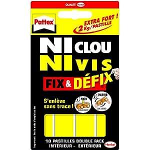Pattex - Adhesivos de doble cara (10 unidades, fijación sin tornillos ni clavos, 40 x 20 mm)