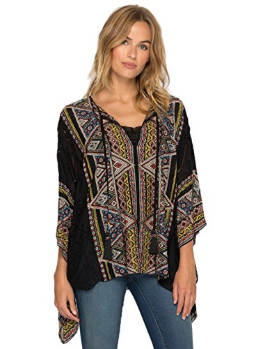 Beaded Silk Sweater (Johnny Was 4 Love and Liberty by Silk Beaded Color Gables Poncho Top (Large))