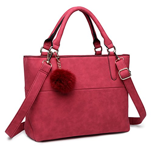 Compartment Imitation Leather Stylish Lulu Bag Handbag Ball Claret Furry Pendant Nubuck Miss Casual with Handle Fluffy Top 1768 wnP8xxY1q