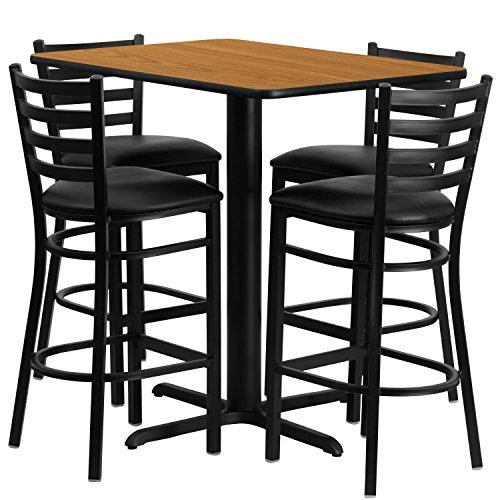 24''W x 42''L Rectangular Natural Laminate Table Set with 4 Ladder Back Metal Barstools - Black Vinyl Seat