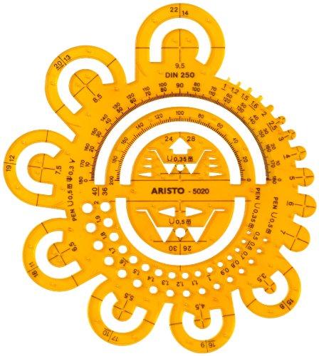 Aristo AR5020 Abrundungsschablone (Radien/Symbole, 162 x 162 mm, 1,5 mm) transparent gelb