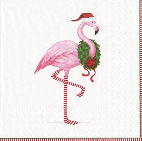 - Entertaining with Caspari Christmas Flamingo Cocktail Napkins, White