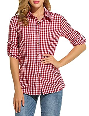 Elesol Women's V-neck Long Sleeve Loose Casual Button Down Plaids Shirt Blouses