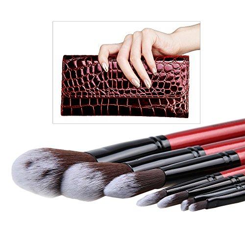 (Embrayage style) Bravolink Mode brosse cosmétiques Bourgogne élégant Maquillage Rouge Brush avec la Bourgogne cas et éponge le visage (7 pcs)
