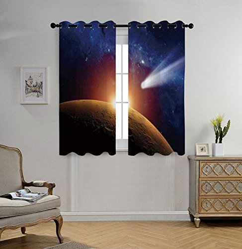 Stylish Window Curtains,Outer Space Decor,Comet Tail Approaching Planet Mars Fantastic Star Cosmos Dark Solar System Scenery,Bue Orange,2 Panel Set Window Drapes,for Living Room Bedroom Kitchen Cafe by iPrint