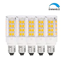 ChiChinLighting Dimmable T4 JD E11 Base LED Light Bulb Miniature Candelabra Base Soft White 35 Watt T4 JD E11 Base Halogen Light Bulb Pack of 5 (5 Pieces Daylight White)