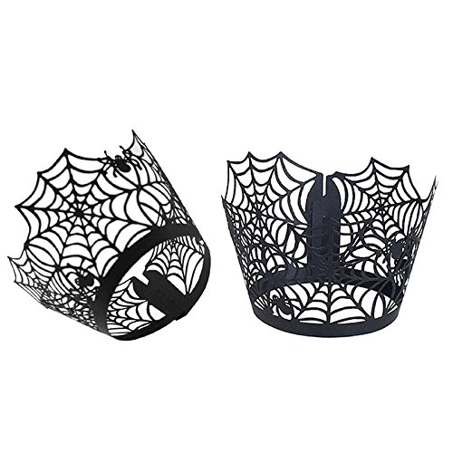 JD Million shop 12Pcs/Lot Black Spider Net Cupcake Holder Cup Creative Paper Muffin Cake Holder Cup Wrapper Cake Decorating Baking Tools EZLIFE