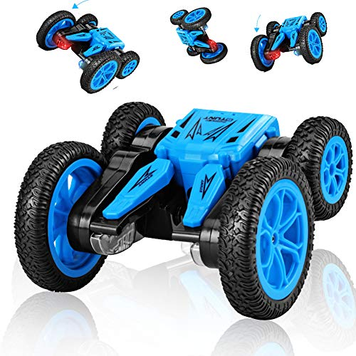 (SB Toys RC Stunt Car RC Car Remote Control Car, 360 Degree Flips Double Sided Rotating Race Car, Remote Controlled Car for Kids, 4WD Monster Truck Tumbling Crawler Vehicle, Best Gift for Kids Blue)