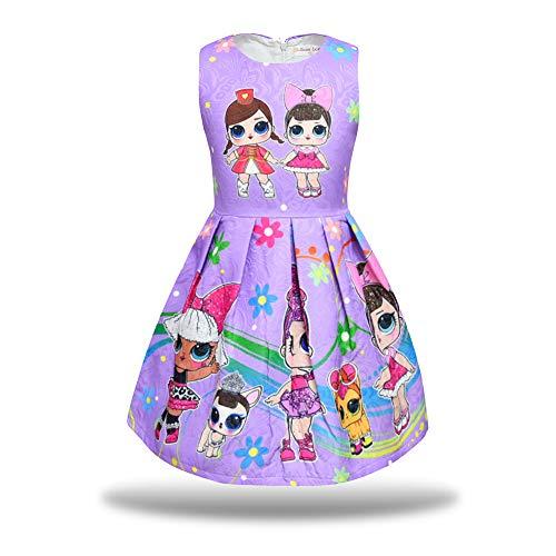 Pandamo Little Girls Dress Sleeveless Print Pageant Pleated Dress for LOL Doll Surprised (140cm/ 6-7Y, Purple)