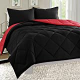 Empire Home Dayton Down Alternative 3 Piece Reversible Comforter Set (Twin Size, Black & Red)