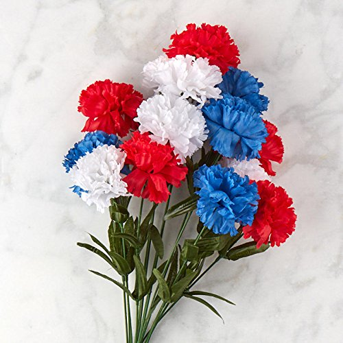 - Factory Direct Craft Red, White, and Blue Poly Silk Carnation Bush | 14 Blooms | for Indoor Decor