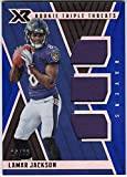 #1: Lamar Jackson 2018 Panini XR Rookie Triple Threats RC Triple Jersey Serial #14/75 Baltimore Ravens