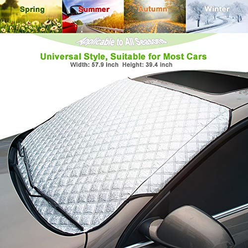 - AMEIQ Car Windshield Window Sun Shade, Snow Cover, All Seasons Windscreen Protector, Best for Most Car Auto Vehicle SUV (THICK)