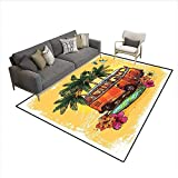 Freedom Drum Coffee Table Floor Mat,Hippie Classic Old Bus with Surfboard Freedom Holiday Exotic Life Sketchy Art,Rugs for Bedroom,Yellow Orange Green 6'6