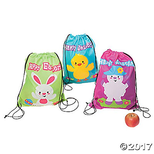 12 LARGE Easter Bunny Drawstring Nylon Totebags Backpacks Assorted Designs Bright Colors 17.5