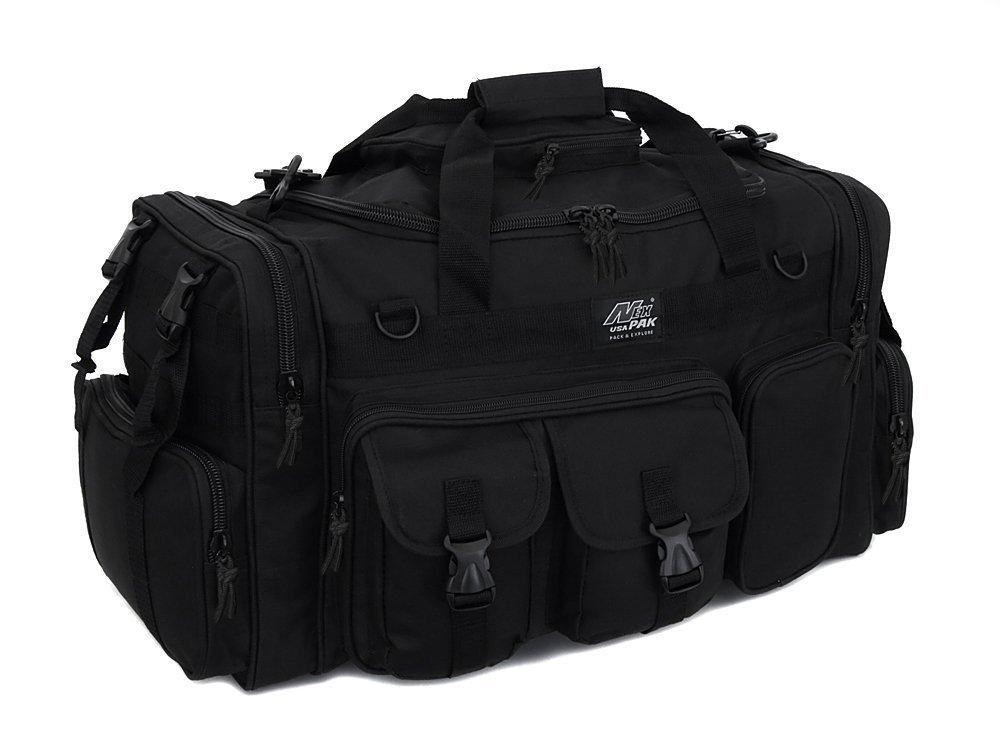 NPUSA Mens Black Large 26'' Duffel Duffle Military Molle Tactical Gear Shoulder Strap Travel Bag