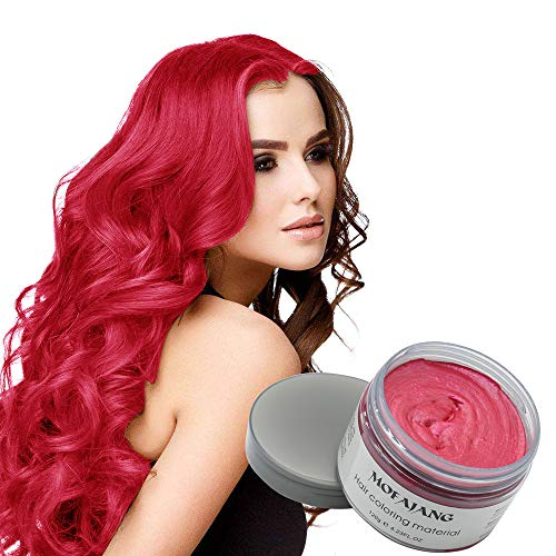 MOFAJANG Natural Hair Wax Color Styling Cream Mud, Natural Hairstyle Dye Pomade, Temporary Hairstyle Cream 4.23 oz, Hairstyle Wax for Men and Women (Red) (Best Wax For Red Paint)