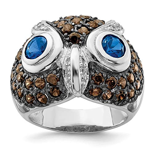 925 Sterling Silver Cubic Zirconia Cz Brown Clear Owl Band Ring Size 8.00 Animal Fine Jewelry Gifts For Women For Her ()