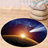 VROSELV Custom carpetOuter Space Decor Comet Tail Approaching Planet Mars Fantastic Star Cosmos Dark Solar System Scenery Bedroom Living Room Dorm Decor Bue Orange Round 79 inches