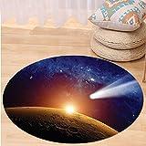 VROSELV Custom carpetOuter Space Decor Comet Tail Approaching Planet Mars Fantastic Star Cosmos Dark Solar System Scenery Bedroom Living Room Dorm Decor Bue Orange Round 79 inches