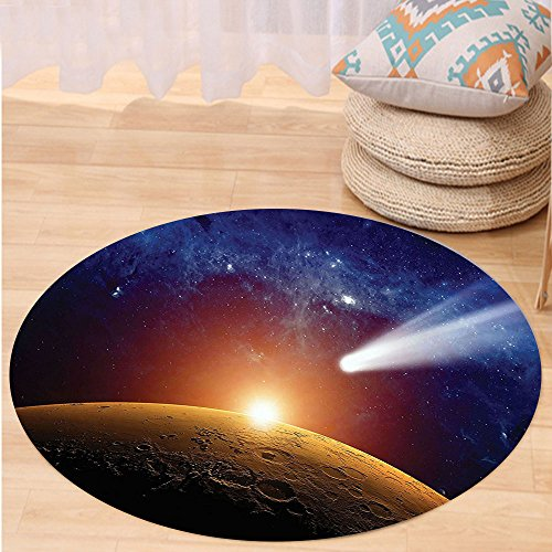 VROSELV Custom carpetOuter Space Decor Comet Tail Approaching Planet Mars Fantastic Star Cosmos Dark Solar System Scenery Bedroom Living Room Dorm Decor Bue Orange Round 79 inches by VROSELV