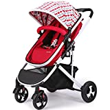 SI YU High Landscape Baby Trolley Can Infant Adjustable Pushchair Pram With Storage Basket Fold Portable Bidirectional Suspension For 0-3 years old (Color : Black)