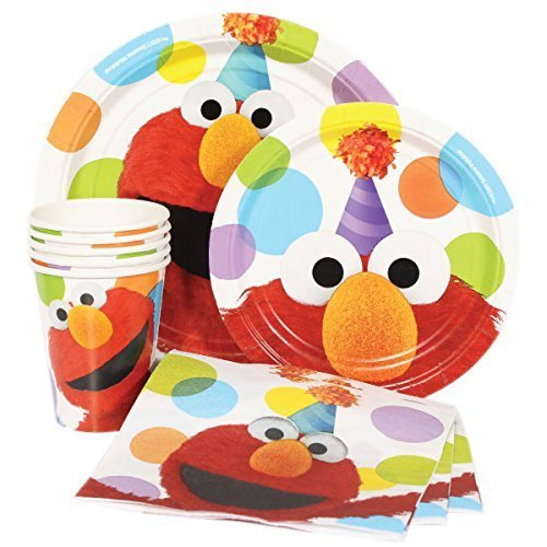 Sesame Street Party Plates (Sesame Street Elmo Value Pack Birthday Party for 8 guests ( Plates, Cups,)